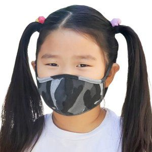 NEW Grey Black Camo Print Children Kids Face Mask
